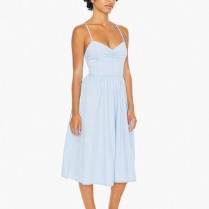 Denim Lace Back Midi Dress | American Apparel